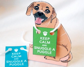Keep Calm Puggle - Desk Decor Paper Doll