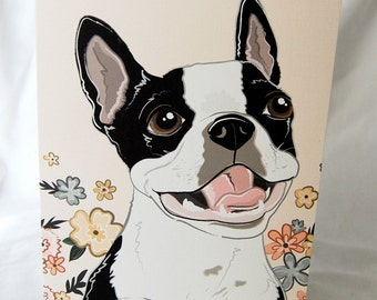 Floral Boston Terrier Greeting Card