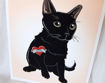 Black Cat Tattoo Print - Eco-Friendly 8x10 Size