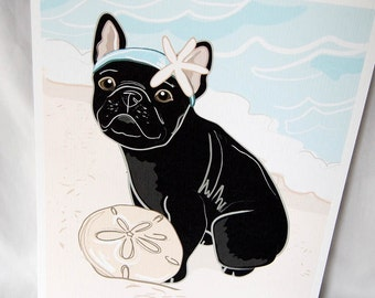 Beach Frenchie in Black - Eco-Friendly 8x10 Print