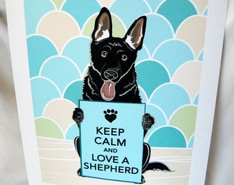 Keep Calm Black German Shepherd with Scaled Background - 7x9 Eco-friendly Print