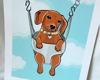 Swinging Doxie - 7x9 Eco-friendly Print