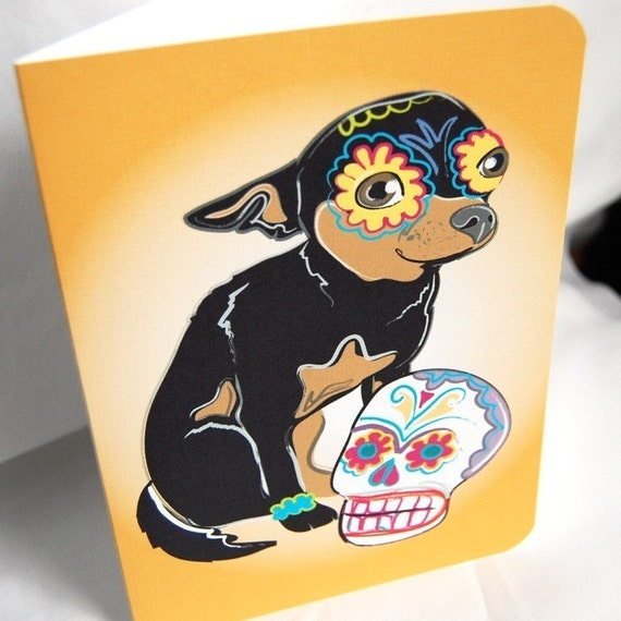 Muertos chihuahua greeting card m4hsunfo