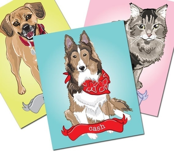 Reserved - Custom Pet Portrait - 8x10 Size