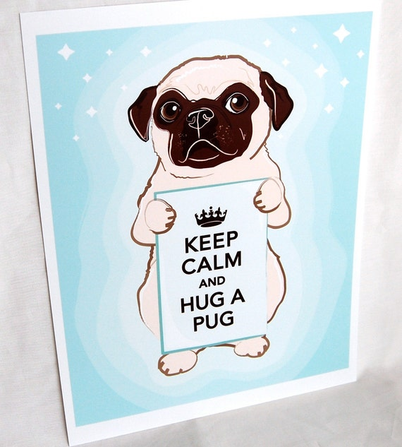 Keep Calm Pug with Starry Background - 8x10 Print
