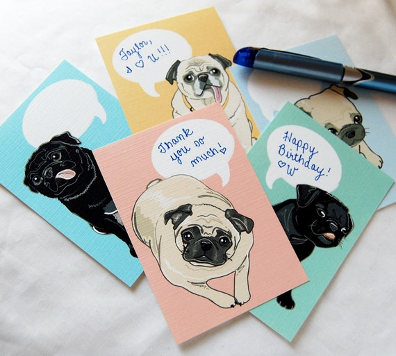 Convo Pug Cards - Eco-friendly Set of 5 - Jumbo Size