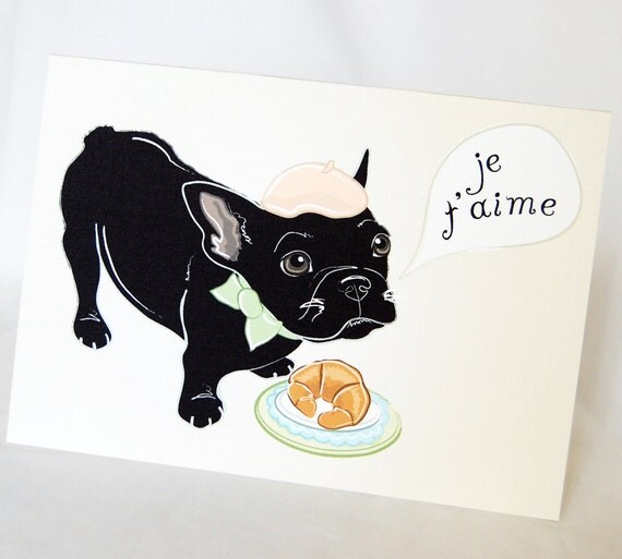 French Bulldog Puppy in Love Greeting Card