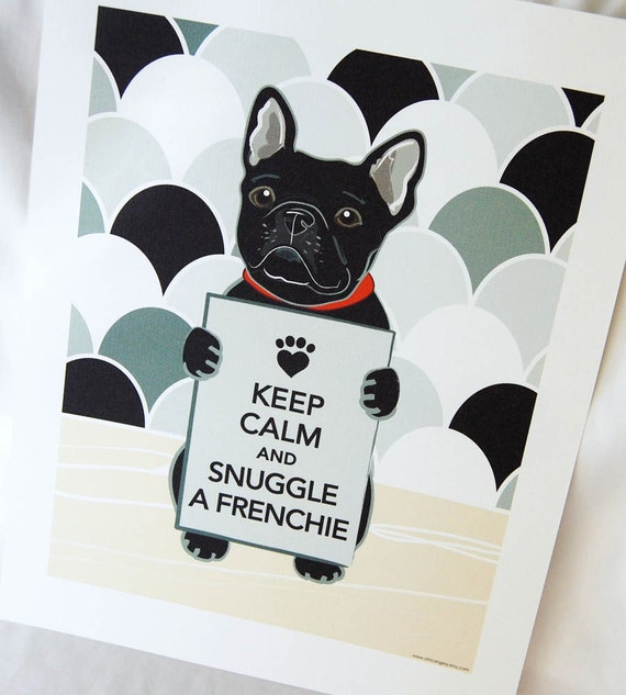 Keep Calm Frenchie on Gray Scaled Background - Eco-friendly 7x9 Print