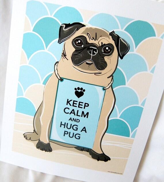 Keep Calm Pug with Scaled Background - 7x9 Eco-friendly Print