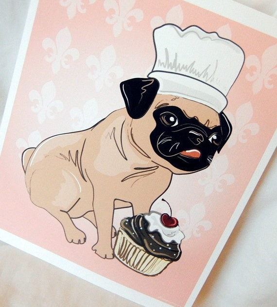 Cupcake Pug - 8x10 Eco-friendly Print