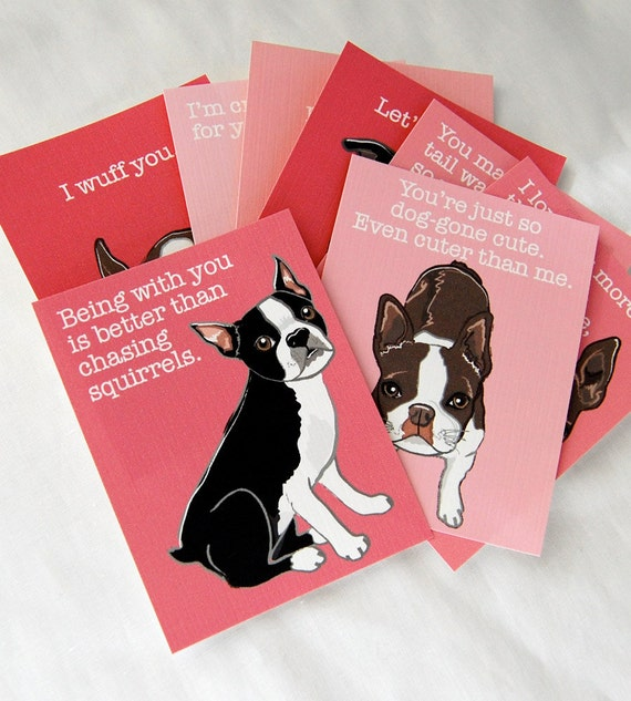 Boston Terrier Love Cards - Mini Eco-friendly Set of 8
