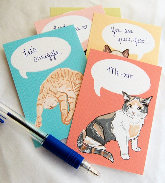 Convo Cat Flat Notecards - Eco-friendly Set of 6