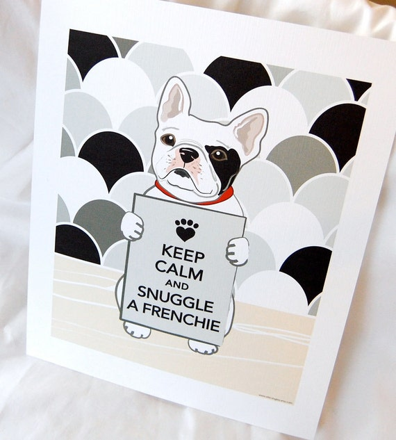 Keep Calm White Frenchie on Gray Scaled Background - Eco-friendly 7x9 Print
