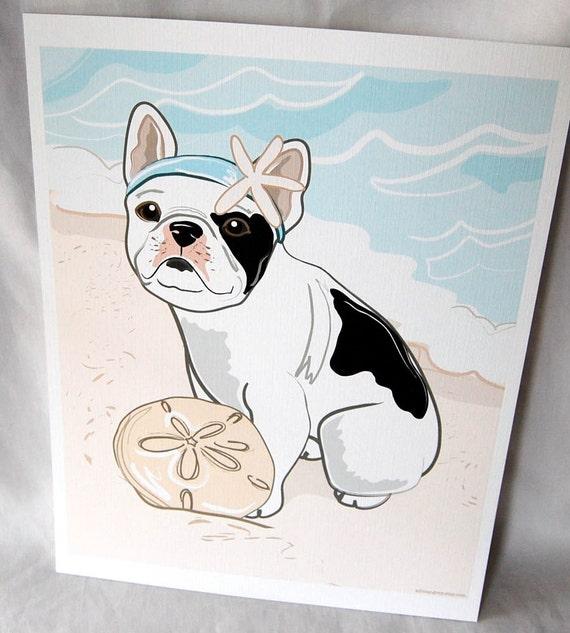 Beach Frenchie in White - Eco-Friendly 8x10 Print