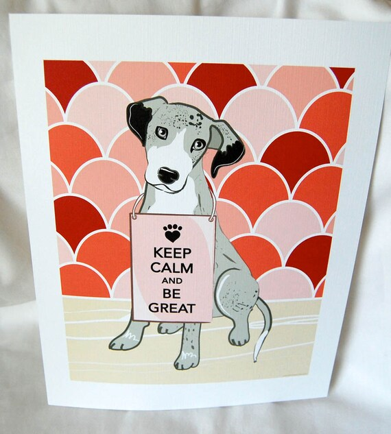 Keep Calm Great Dane with Ruby/Pink Scaled Background - 7x9 Eco-friendly Print
