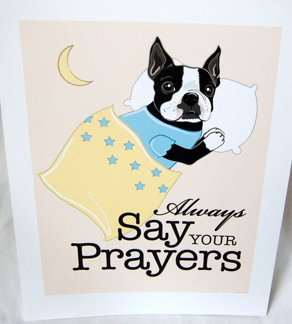 Praying Boston Terrier - 7x9 Eco-friendly Print
