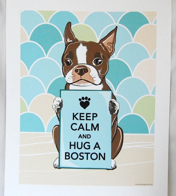 Keep Calm Brown Boston Terrier with Scaled Background - 7x9 Eco-friendly Print
