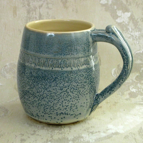 Large Cream on Blue  Mug with Thumb Rest