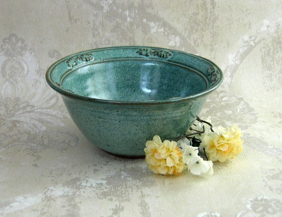 Aqua Mixing/Serving Bowl With Decorated Flared Rim