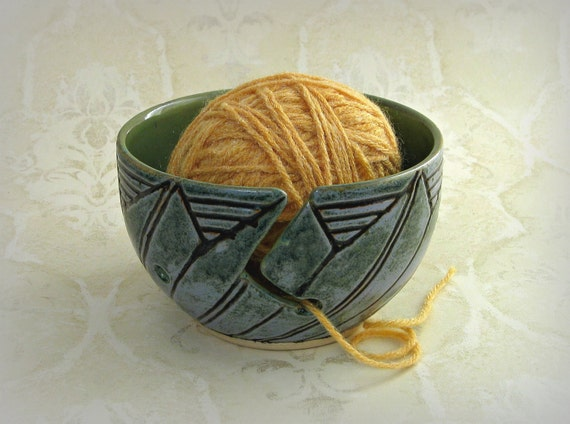 Decorative Yarn Bowl in Soft Mottled Blue and Rutile Green