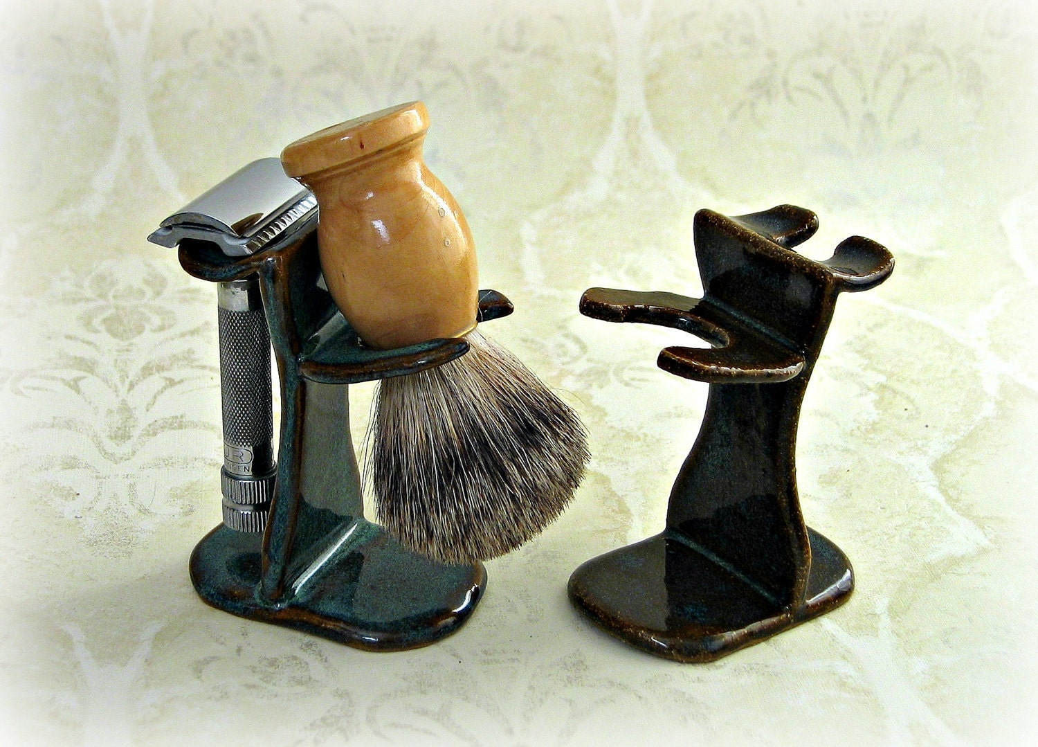 Shaving Brush Razor Stand In Choice Of Speckled Blue Green Or