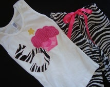 Birthday Outfit for Girls, Slumber Party Pajamas, Zebra Print Party, Birthday Shirt, Girls Sleepover Outfit, Cupcake Shirt, Girl Birthday