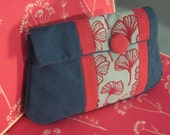Gingko Clutch, poppy pink and ocean blue