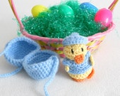 Blue Crocheted Easter Egg with Boy Duck