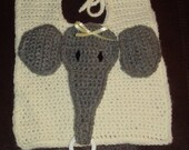Yellow Elephant Bib with Pacifier Holder