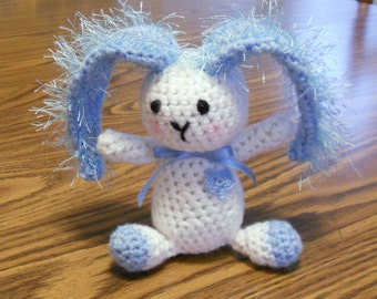 Blue and White Crocheted Bunny