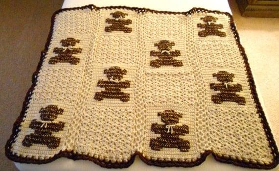 Brown Crocheted Teddy Bear Baby Afghan