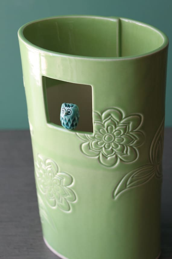apple green window vase with owl
