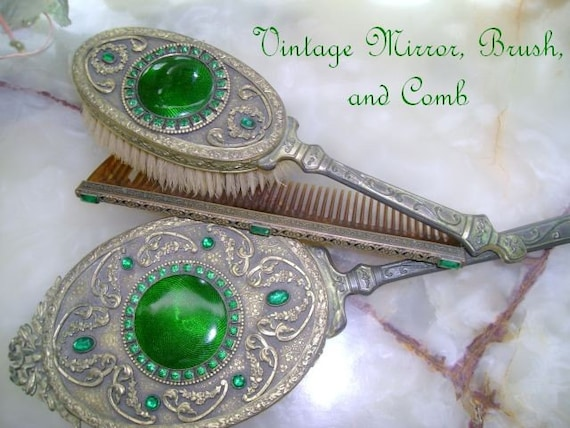 Vintage 1920 S Green Mirror Brush Comb Set By Sewbeautiful2