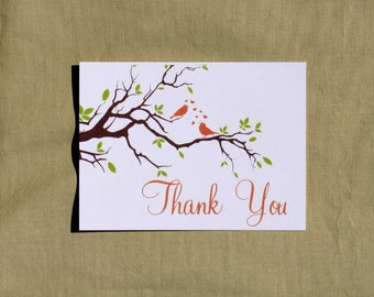 Lovebird Thank You Notes - set of 15