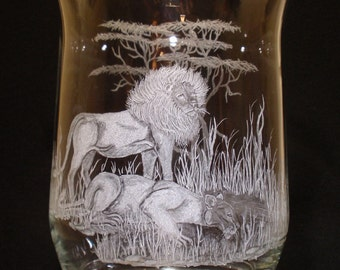 Etched Glass, African Lion, Hand carved, Glass, Big Five, Gift, Candle holder, housewarming,  Home decor, King of the jungle, watering hole