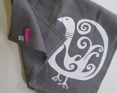 Linen Tea Towel - Bird Kitchen Towel - Choose your fabric and ink color