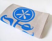 Cotton Kitchen Towel - Happy Flower design - Choose your ink color