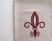 Cotton Kitchen Towel - Fleur de lis - Choose your ink color
