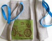 Apron - Linen Cafe Apron with Brown Bicycle