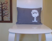Pillow Cover - Cushion Cover - Love Tree - 12 x 16 - Choose your fabric and ink color