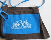Linen Cafe Apron - Chocolate Brown Linen with Tandem Bicycle