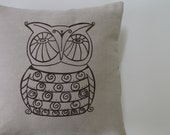 Pillow Cover - Cushion Cover- Owl - 16 x 16 inches - Choose your fabric and ink color