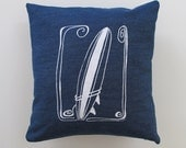 Pillow Cover - Cushion Cover- Surfboard - 16 x 16 inches - Choose your fabric and ink color