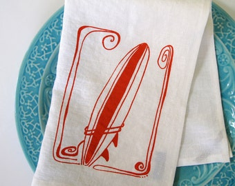 Linen Tea Towel - Surfboard Kitchen Towel - Choose your fabric and ink color