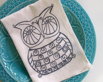 Linen Tea Towel - Owl Kitchen Towel - Choose your fabric and ink color
