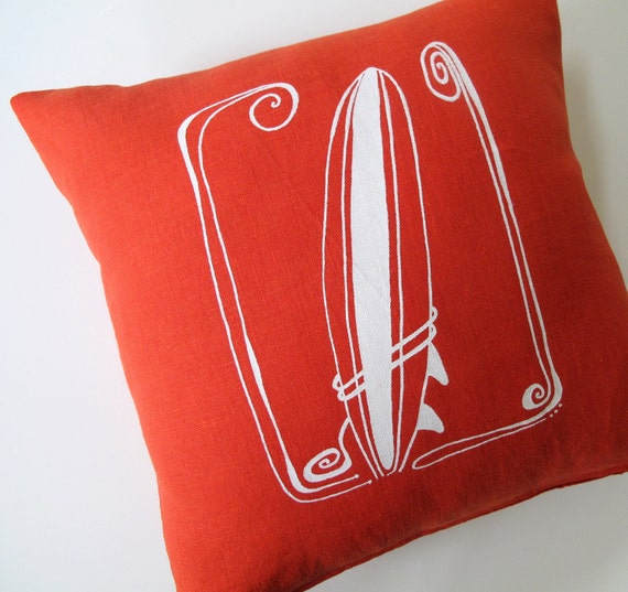 Pillow Cover - Cushion Cover - Surfboard - 16 x 16 inches - Choose your fabric and ink color