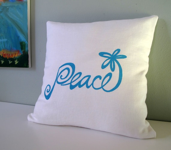 Pillow Cover - Cushion Cover - Peace Flower - 16 x 16 inches - Choose your fabric and ink color
