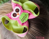 SALE - Layered Lemon Grass Green and Hot Pink T-Tot Boutique Style Hair Bow with Felt Owl Center