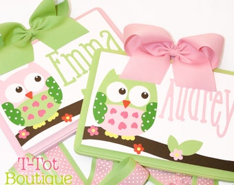 Custom Handpainted Boutique Childrens Hair Bow Holder Personalized OWL m2m Circo Love n Nature - MEDIUM