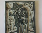 Hand Carved Day of the Dead Wedding Rubber Stamp